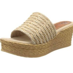 LAST PAIR Suede Leather Tan Leather Wedges